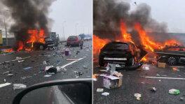 Zderzenie aut i pożar na A4
