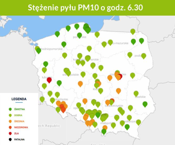 Stężenie pyłu PM10 o godz. 6.30 (GIOŚ)