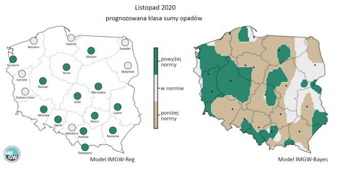 Prognoza długoterminowa temperatury i opadu na listopad 2020 r. - styczeń 2021 r. (IMGW-PiB)