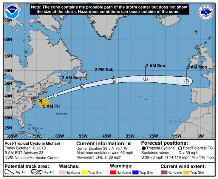 Prognozowana trasa cyklonu post-tropikalnego Michael (NHC NOAA)