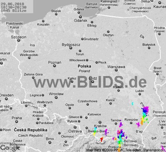 Ścieżka burz w godzinach 18.20-20.30 (blids.de)